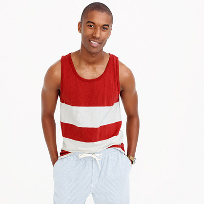 Cotton tank top in white stripe