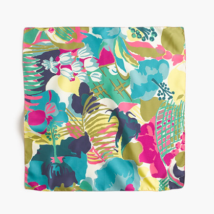 Italian silk square scarf in seaside floral