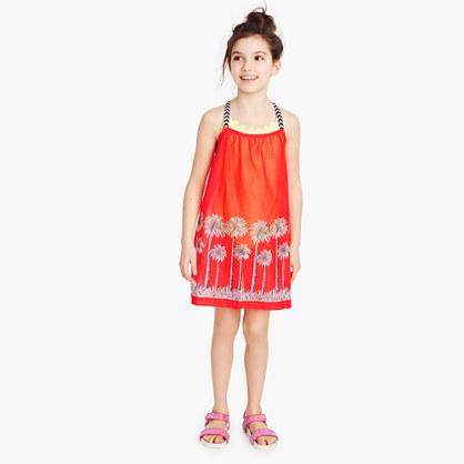Girls' racerback dress in palm tree print