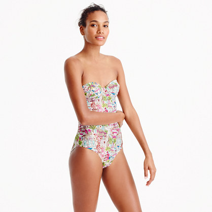 Underwire bandeau one-piece swimsuit in harbor print