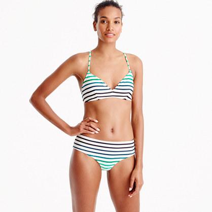 French cross-back bikini top in ombré stripe