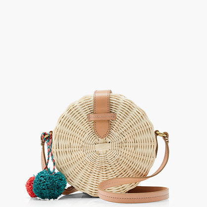 Circle straw crossbody bag