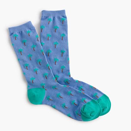 Trouser socks in palm tree print