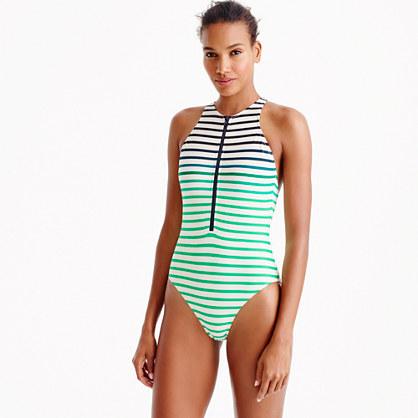 Zip-front one-piece swimsuit in ombré stripe