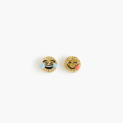 Girls' glitter emoji earrings
